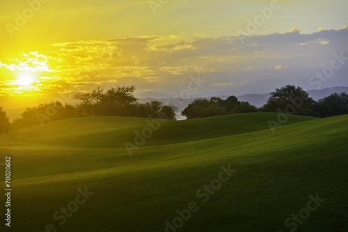 canvas print picture Golf Sunrise