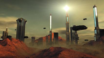 Futuristic sci-fi city street view, 3d digitally illustration