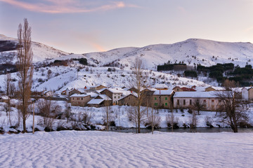 Snow covered village.Northern Spain.