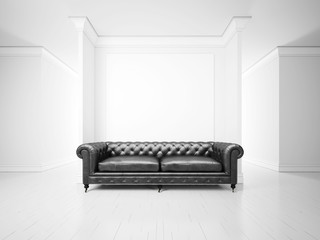 White interior with sofa and banner
