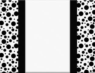 Black and White Polka Dot Frame with Ribbon Background