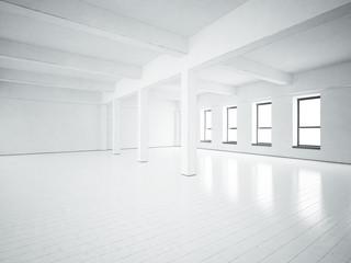 Loft space. White concrete walls.