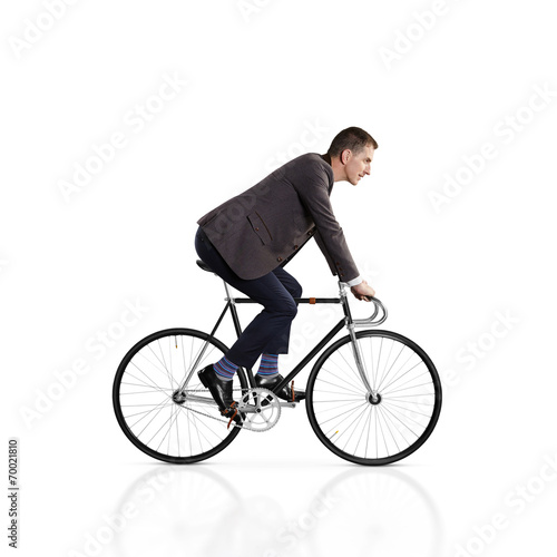 canvas print picture Man on a bicycle isolated on white