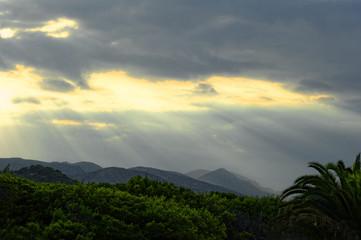 Mallorca, Landschaft Blick in die Berge am Abend