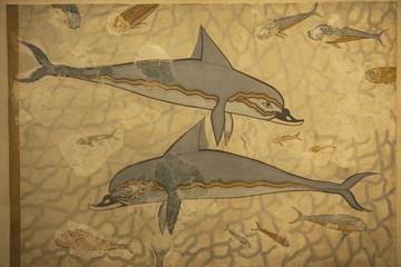 Delfine aus Knossos im archäologischen Museum, Iraklio, Kreta