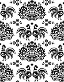 Seamless Polish, Slavic black folk art pattern with roosters - 70022494