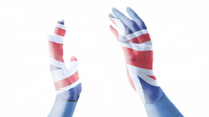 British flag over hands applauding.