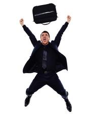 business man happy joyful jumping silhouette