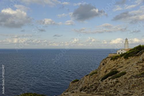 canvas print picture Mallorca, Leuchtturm Far de Capdepera quer