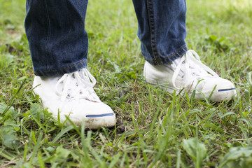 Feet of the kid in the park