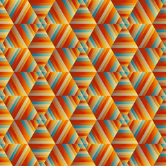 Ornamental Hexagonal Orange Pattern