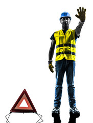 signals safety  warning triangle man  stop gesture