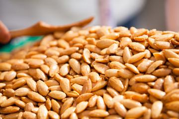 Almonds background.