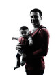 fathers parents with baby carrier silhouette