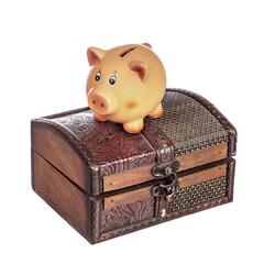 Piggy bank on chest