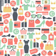 seamless vector background with colorful shopping icons - 70023424