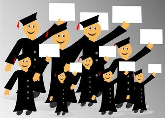 Graduados mostrando sus diplomas