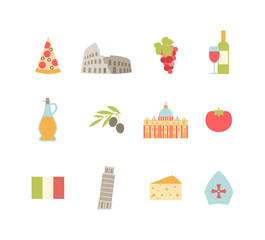 set of colorful Italy icons