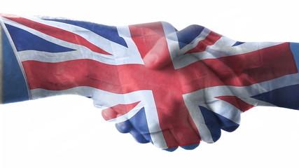 British flag over a handshake.