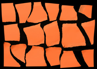 Set Of Orange Torn Paper