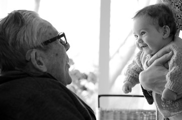 Great Granddad play with his great grandchild