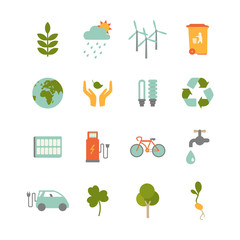 set of colorful ecology icons