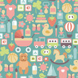 pattern with colorful flat baby icons on blue background