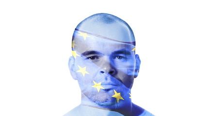 Flag of EU - European Union over a face of a young adult man.