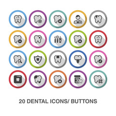 Dental flat icons/ buttons with shadow.