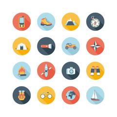 set of round adventure traveling icons