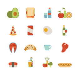 set of colorful food icons