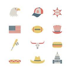 set of colorful USA icons