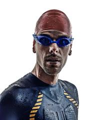 man triathlon iron man athlete swimmers portrait