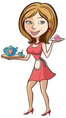 Housewife with tea. Illustration.