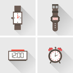 vector illustration. Four watch design elements