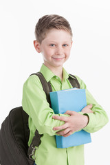 waist up of schoolboy with backpack,