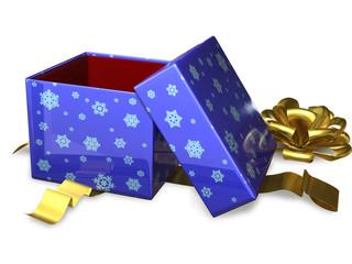 open gift box blue