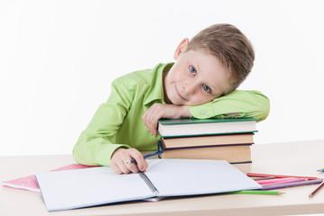 Caucasian student boy doing homework.