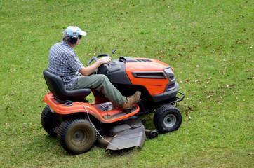 Gardner on ride-on lawn
