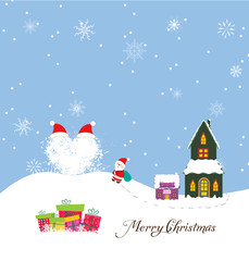 Merry christmas card with santa claus, gift and christmas house