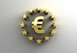 Euro sign with stars - gold 3D quality render on the wall backgr
