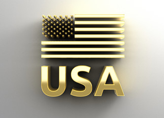 USA flag - gold 3D quality render on the wall background with so
