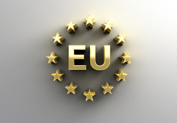 EU sign with stars - gold 3D quality render on the wall backgrou