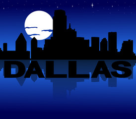 Dallas skyline reflected with text and moon illustration