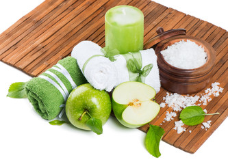Spa products of green apple