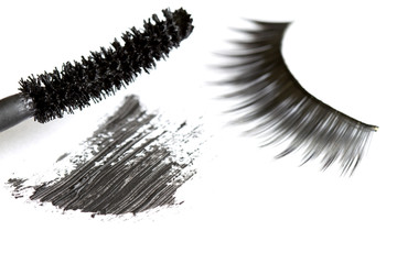 Eyelashes and eye shadow cosmetics abstract background