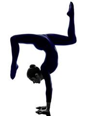 woman exercising Eka Pada Viparita Dandasana pose yoga silhouett