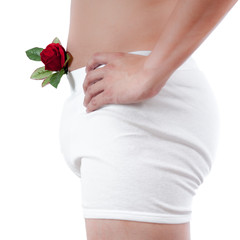 close up of man on white boxer underware  holding red rose isola