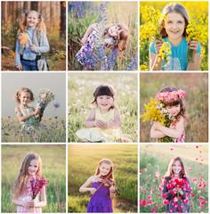 collage of children outdoor