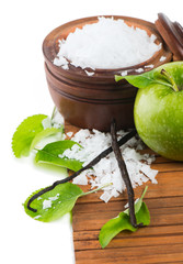 Aromatherapy - green apple, bath salt and vanilla beans
